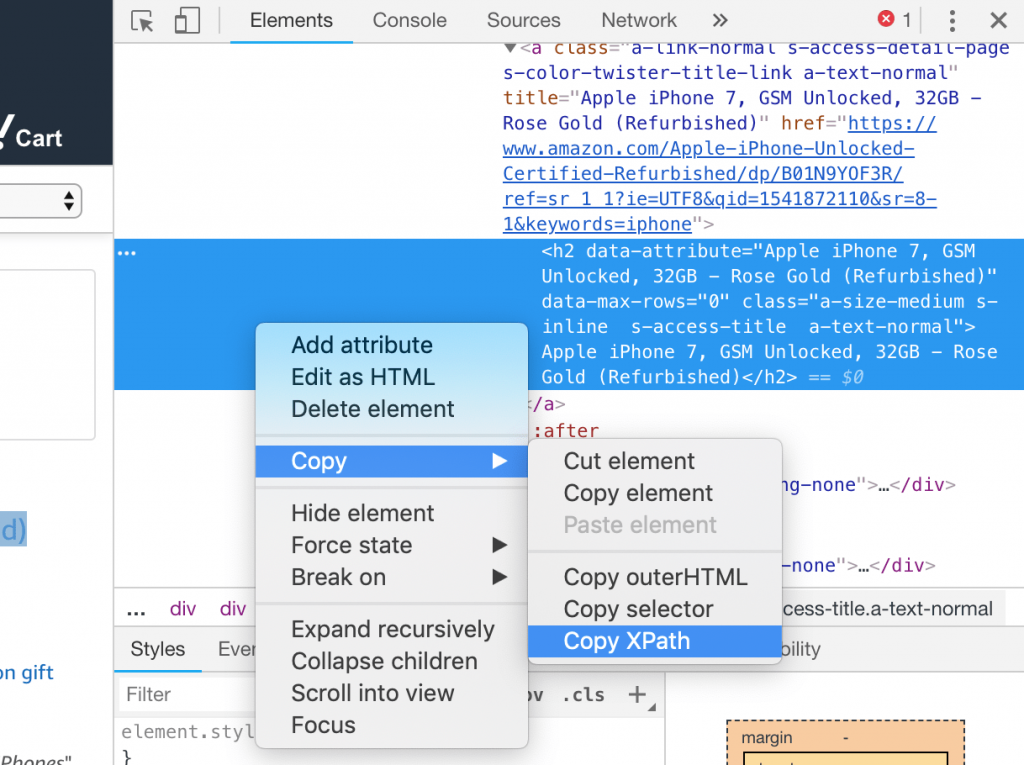 Copy an xpath on Chrome Developer Tool